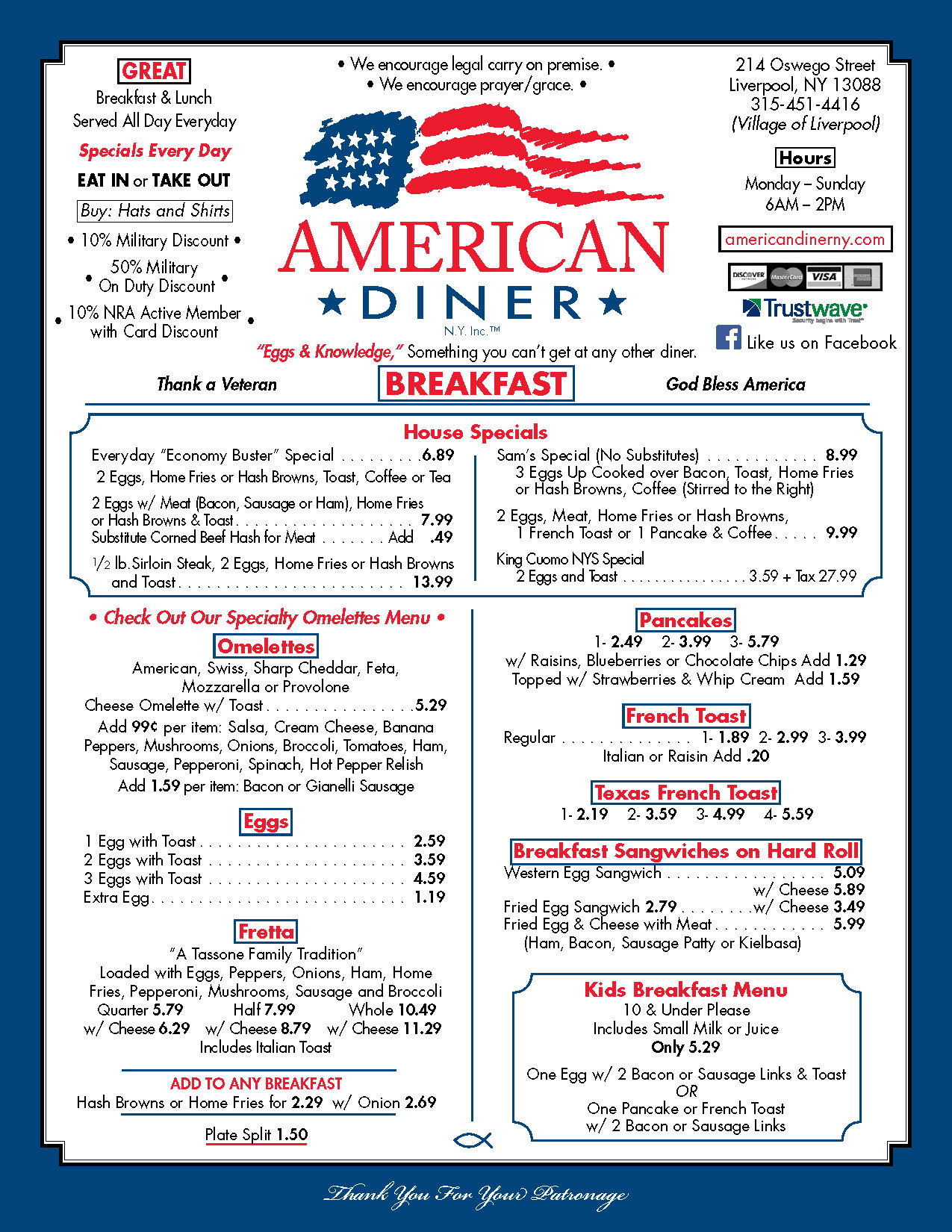 image regarding Printable Menu named Menu - American Diner Serving Liverpool and Syracuse, NY