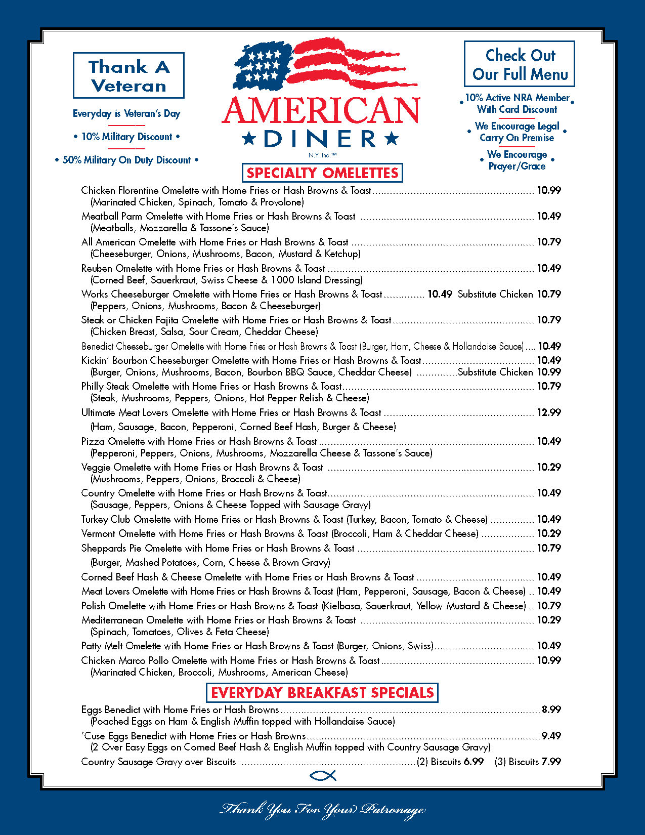 menu american diner serving liverpool and syracuse ny